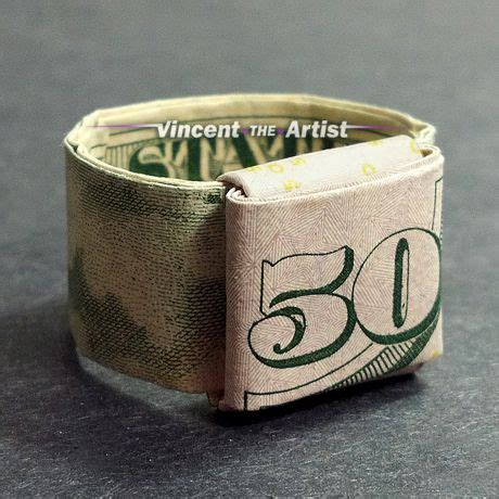 money origami ring made with 50 bill money origami