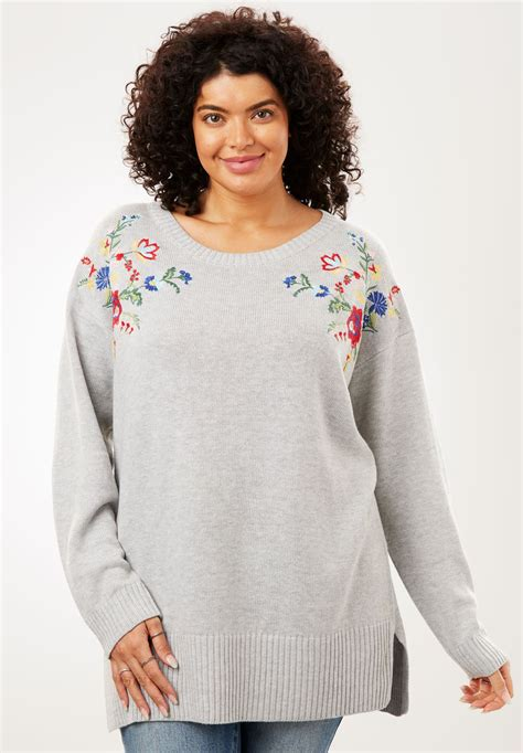 floral embroidered pullover sweater plus size sweaters