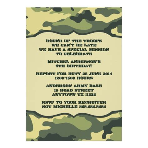 camouflage invitation template mod updated army camo birthday invitation 5 quot x 7