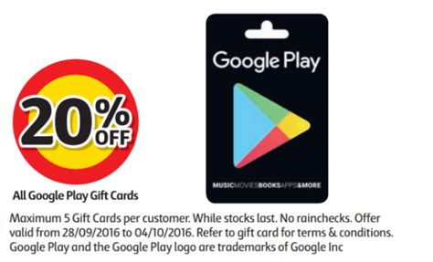 get 20 off google play gift cards at coles from the 28th of september ausdroid - Google Play Gift Card Discount Australia