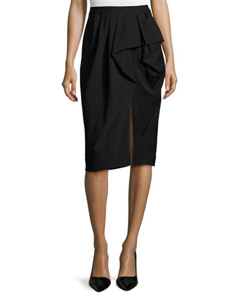 michael kors draped sarong pencil skirt black