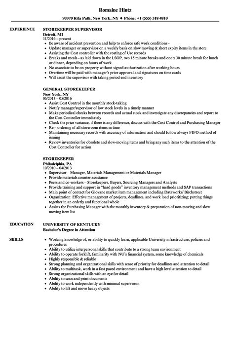 Storekeeper Resume Format by Manager Resume Cover Letter Sle Resume And Application Letter For Nurses Resume