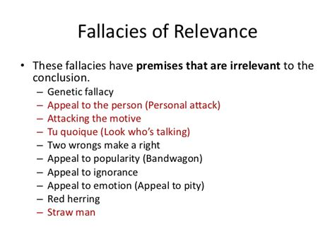 irrelevant thesis fallacy exles week 7 faulty reasoning version