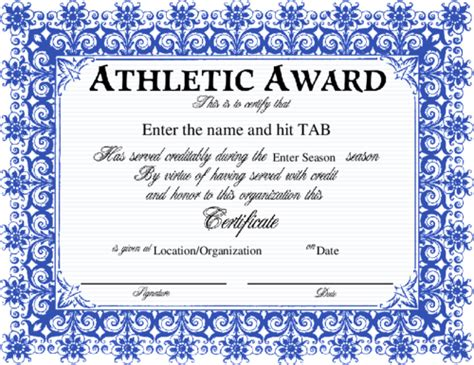 athletic certificate templates award certificate templates