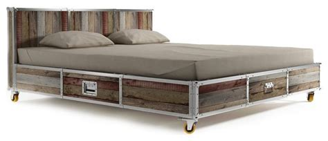 loft style bed frame industrial loft reclaimed teak platform storage bed