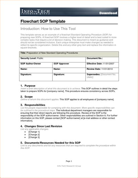 sop format 14 standard operating procedures templates