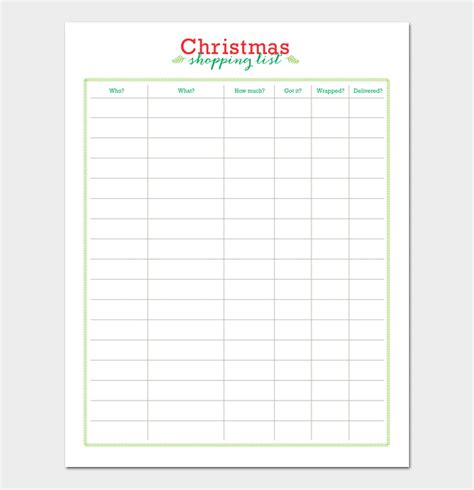 christmas list doc list template for word excel and pdf