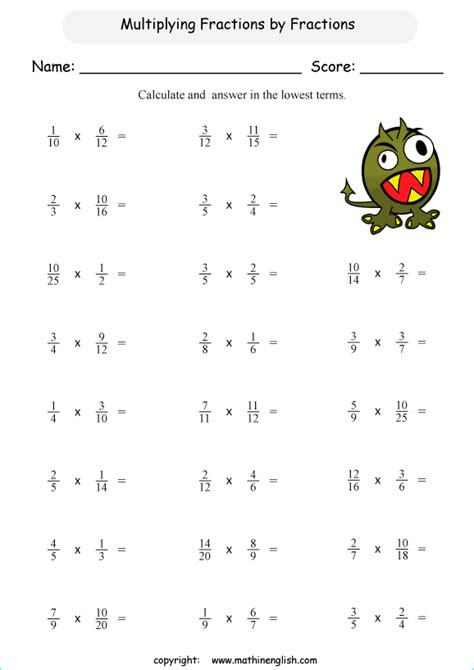 Multiplying Fractions Worksheets by Free Worksheets 187 Year 6 Fractions Worksheet Free Math