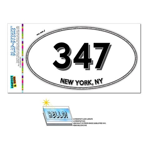what us area code is 347 area code oval window laminated sticker 347 new york ny