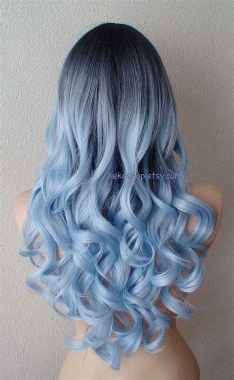 hairstyles without dying roots dark roots pastel silver blue wig long curly hair by