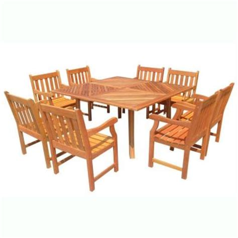 Vifah Roch Eucalyptus 9 Piece Patio Dining Set With 60 In 60 Patio Table Set