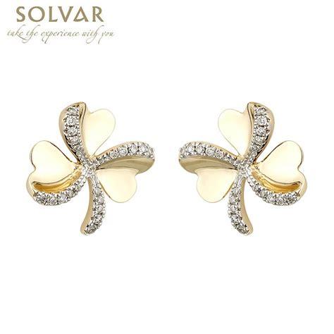 shamrock earrings 10k gold cz shamrock stud earrings at