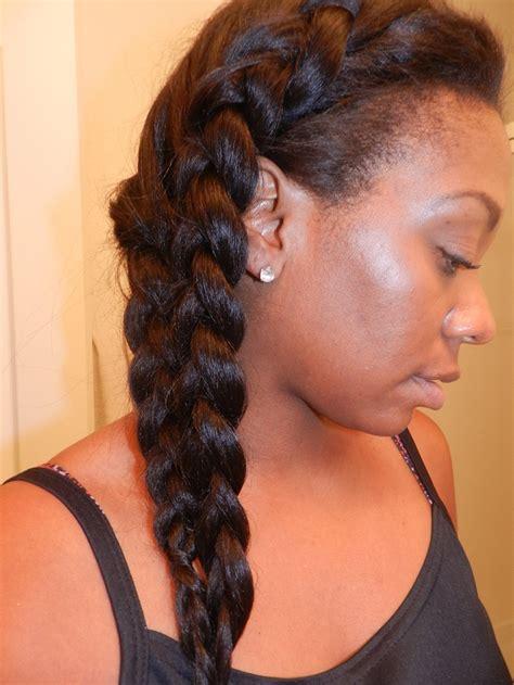 half weave half braids malaysian light yaki half wig worn in a side mermaid type