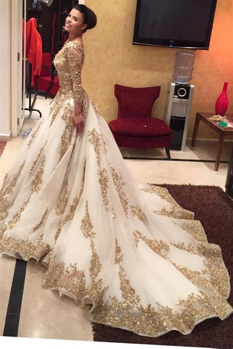 gold lace appliques long sleeves white tulle ball gowns wedding dress gold lace appliques long sleeves v neck ball gown tulle