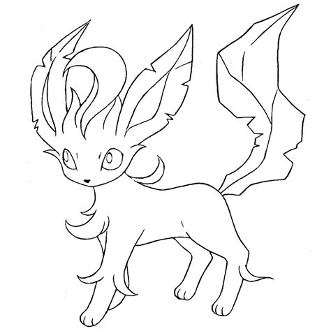 Leafeon Lineart By Skylight1989 On Deviantart Leafeon Coloring Pages