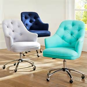 Aqua Fuzzy Desk Chair Tufted Desk Chair Contemporary Office Chairs By Pbteen