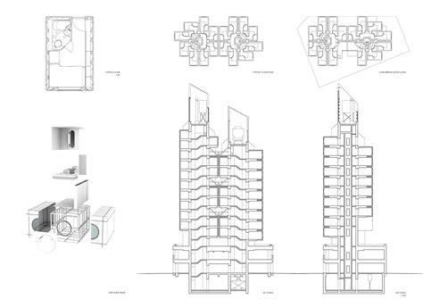 Japanese Floor Plans by Nakagin Capsule Tower Sci Arc Tokyo