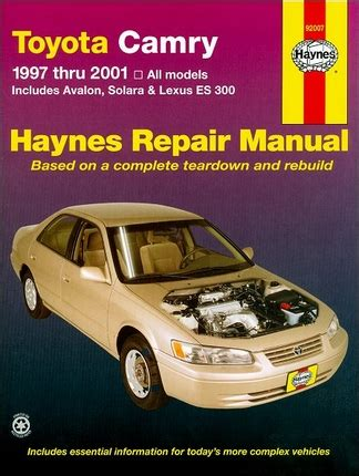 how to fix cars 2001 toyota avalon on board diagnostic system toyota camry avalon solara lexus es300 repair manual 1997 2001