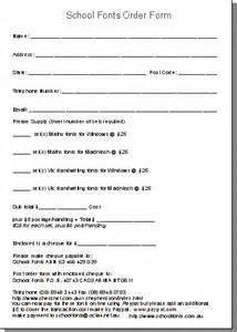 school order form template cursive script maths fonts