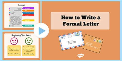Formal Letter Ks2 Ppt How To Write A Formal Letter Powerpoint Formal Letter Formal