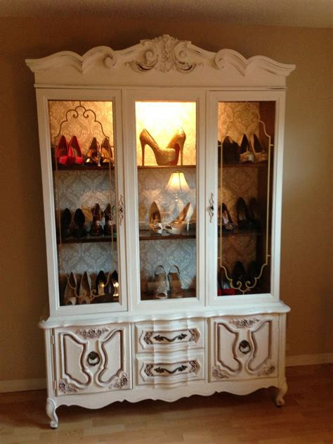 repurpose china cabinet repurposed a china cabinet into a shoe display cost me