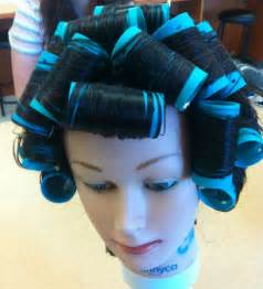 setting hair on rollers brick lay roller sectioning hair nails makeup
