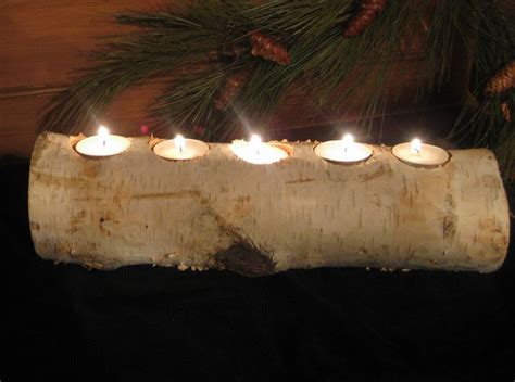 birch log tea light candle holder we can make this with