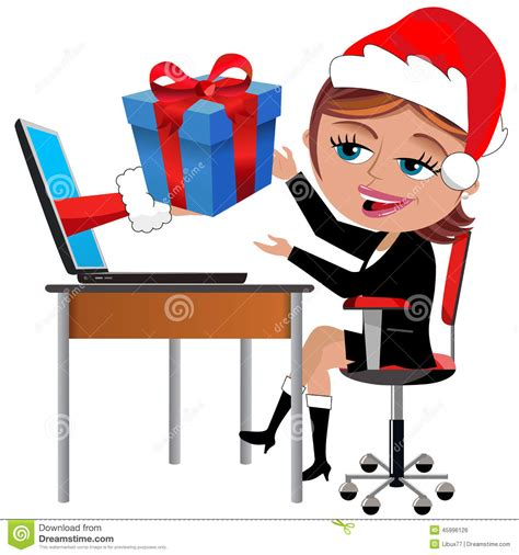 christmas gufts for desk mates happy employee receiving gift office desk stock vector image 45996126