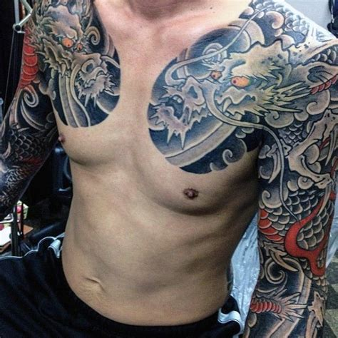 yakuza tattoo half sleeve 50 deadly dragon tattoos for men manly mythical monsters