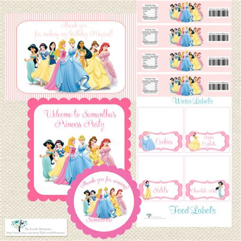 Printable Disney Princess Party Decorations | items similar to disney princess inspired personalized