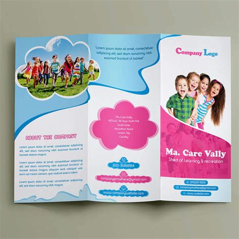 child care brochure templates free free child care tr ifold brochure