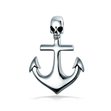 Pirate Skull Nautical Anchor Pendant Stainless Steel