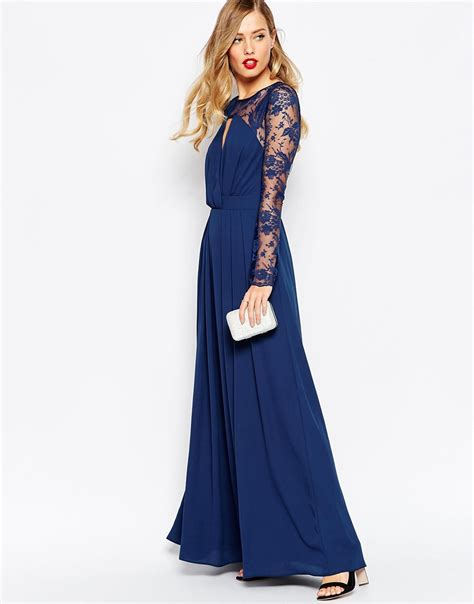Maxi Vera Navy asos kate lace maxi dress with sleeves navy in blue