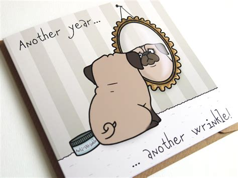 pug card pug birthday greeting card birthday card pug card