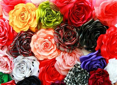 different colors of roses roses of cloth of different colors stock photo colourbox