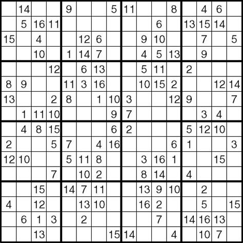 printable sudoku with 16 numbers 4 best images of 16 sudoku printable free printable
