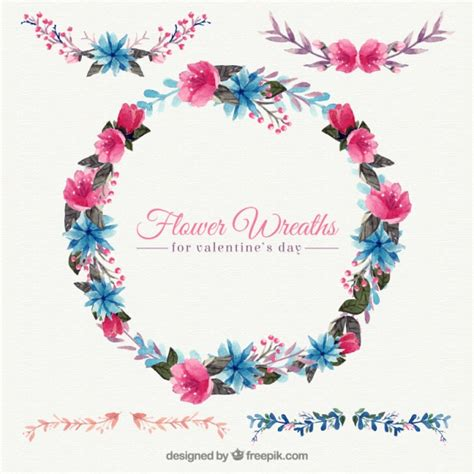 decorative watercolor floral wreath vector free download