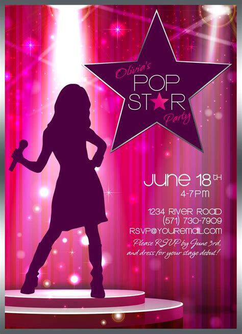 printable pop star party invitations pop star birthday birthday party ideas photo 27 of 33