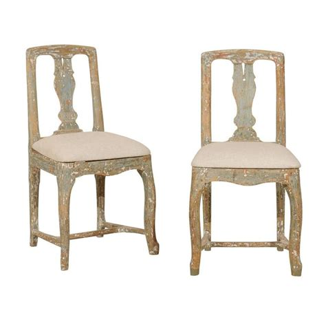 pair of swedish period rococo side chairs in soft green beige and white color for sale at 1stdibs