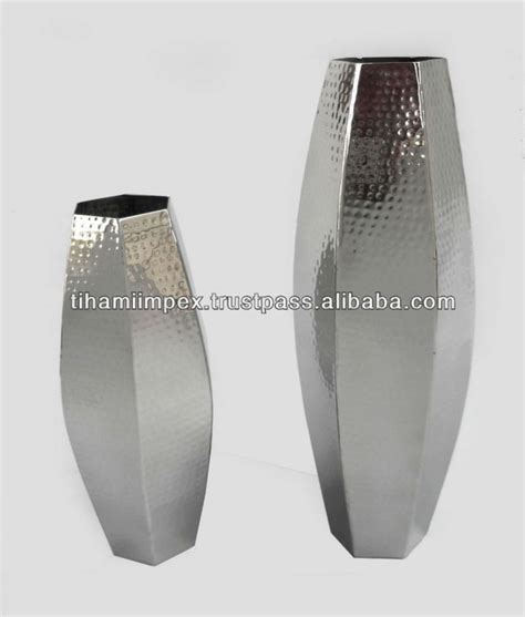 Stainless Steel Flower Vase by Hexagonal Flower Vase Hammered Stainless Steel Flower