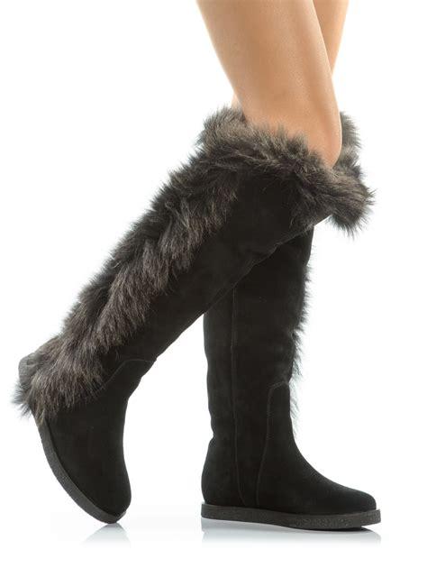 koolaburra ii knee high fur boot in black lyst
