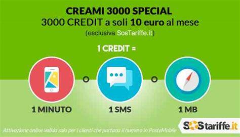 tariffa poste mobile tariffa in esclusiva su sostariffe it creami 3000 special