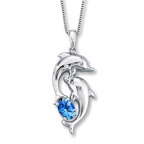 topaz dolphin necklace accents sterling silver