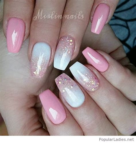 Pink Gel Nail Designs pink and white gel nail design with glitter