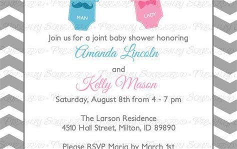 Joint Baby Shower by Joint Baby Shower Invitation Mustache And By