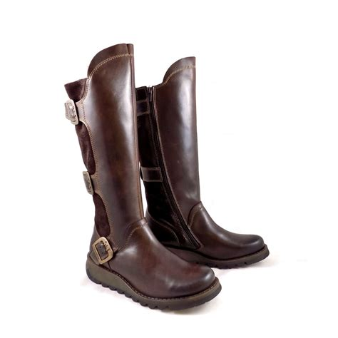 fly synd boots with buckles in brown