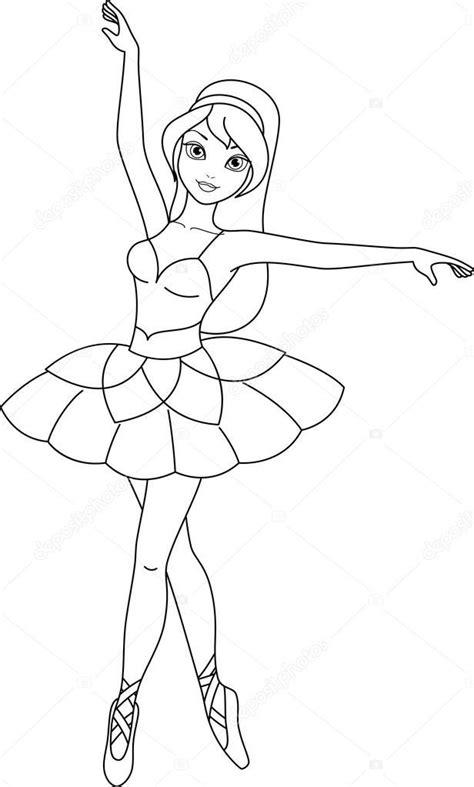 Baixar - Página de bailarina para colorir — Ilustração de