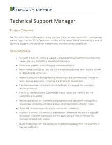 Sales Support Manager Description by Manager Technical Support Description