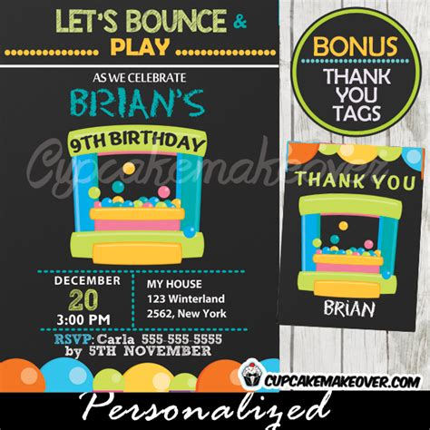 Bounce Play Archives Cupcakemakeover Free Bounce Invitation Template