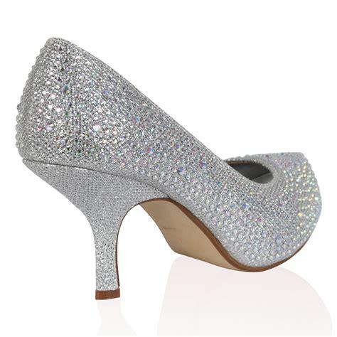 womens silver glitter diamante kitten heel